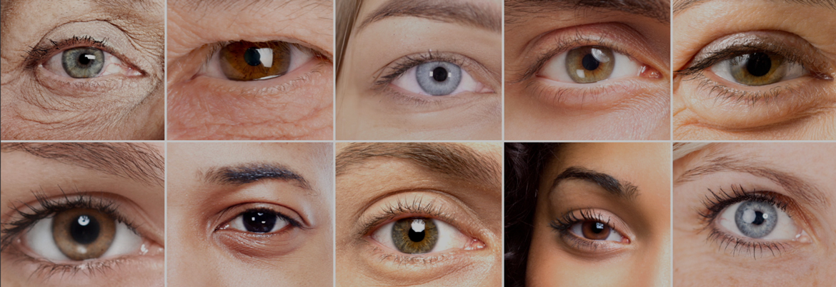 Collage of 10 different peoples eyes.